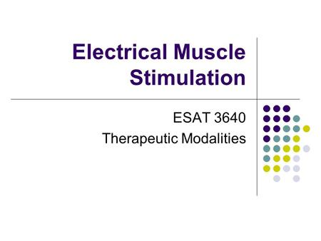 Electrical Muscle Stimulation