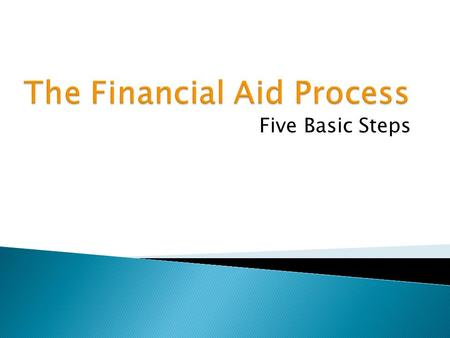 Five Basic Steps.  Application  Verification  Awarding  Disbursement  Maintaining Eligibility.