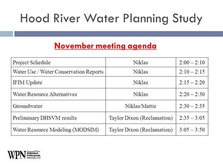 November meeting agenda Hood River Water Planning Study Project ScheduleNiklas2:00 – 2:10 Water Use / Water Conservation ReportsNiklas2:10 – 2:15 IFIM.