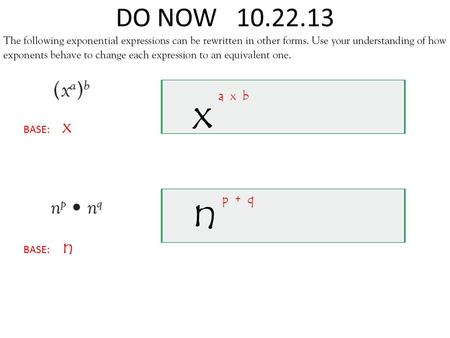 DO NOW 10.22.13 BASE: x BASE: n x n a x b p + q. 1 Numbers, Variables, or a Product of a Number and one or more Variables. Vocabulary 1 Activate Prior.