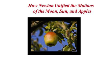 How Newton Unified the Motions of the Moon, Sun, and Apples.