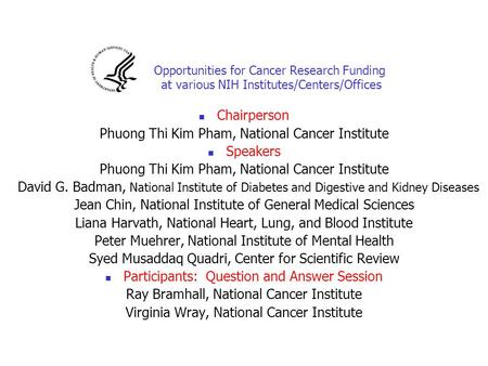 Phuong Thi Kim Pham, National Cancer Institute Speakers