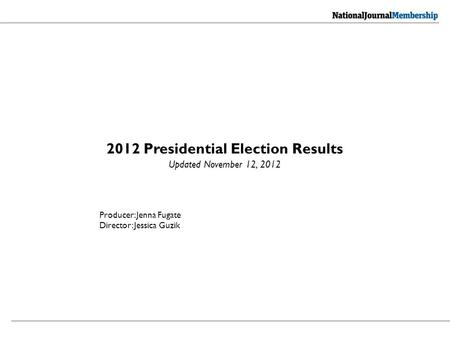 2012 Presidential Election Results Updated November 12, 2012 Producer: Jenna Fugate Director: Jessica Guzik.