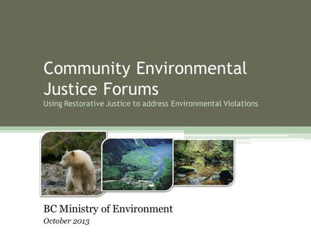 Community Environmental Justice Forums Using Restorative Justice to address Environmental Violations BC Ministry of Environment October 2013.