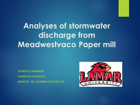 Analyses of stormwater discharge from Meadwestvaco Paper mill SUSMITHA MARNENI SAMAYITA GANGULY MENTOR : DR. ASHWINI KUCKNOOR,