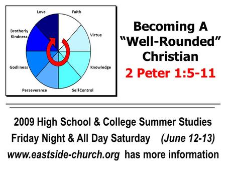 Faith Virtue Knowledge Self-ControlPerseverance Godliness Brotherly Kindness Love 2009 High School & College Summer Studies Friday Night & All Day Saturday.