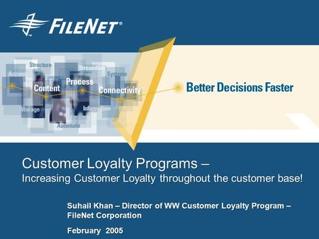 Customer Loyalty Programs – Increasing Customer Loyalty throughout the customer base! Suhail Khan – Director of WW Customer Loyalty Program – FileNet Corporation.