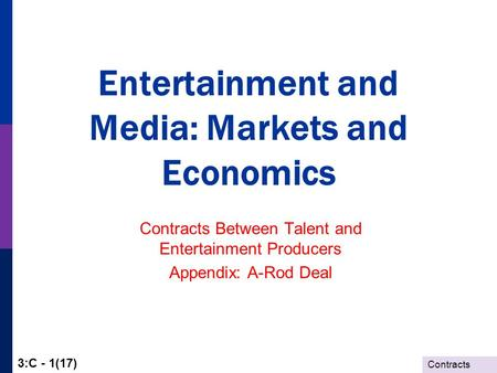 Contracts 3:C - 1(17) Entertainment and Media: Markets and Economics Contracts Between Talent and Entertainment Producers Appendix: A-Rod Deal.