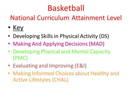 Basketball National Curriculum Attainment Level Key Developing Skills in Physical Activity (DS) Making And Applying Decisions (MAD) Developing Physical.