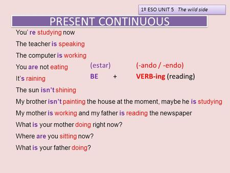 PRESENT CONTINUOUS (estar) (-ando / -endo) BE+ VERB-ing (reading) 1º ESO UNIT 5 The wild side You' re studying now The teacher is speaking The computer.