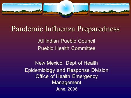 Pandemic Influenza Preparedness All Indian Pueblo Council Pueblo Health Committee New Mexico Dept of Health Epidemiology and Response Division Office of.