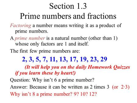 Section 1.3 Prime numbers and fractions
