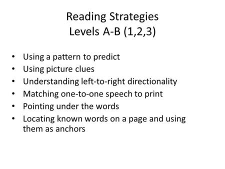 Reading Strategies Levels A-B (1,2,3) Using a pattern to predict Using picture clues Understanding left-to-right directionality Matching one-to-one speech.