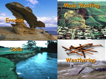 Weathering Soils Erosion Mass Wasting. Weathering: the physical and chemical breakdown of rock – exposed to wind, water, ice, and living organisms Regolith: