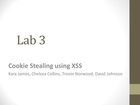 Lab 3 Cookie Stealing using XSS Kara James, Chelsea Collins, Trevor Norwood, David Johnson.