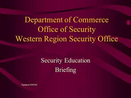 Security Education Briefing