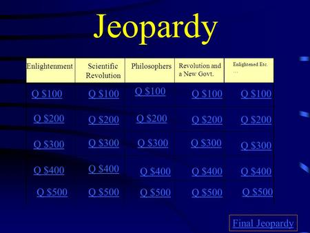 Jeopardy Enlightenment Scientific Revolution Philosophers Revolution and a New Govt. Enlightened Etc. … Q $100 Q $200 Q $300 Q $400 Q $100 Q $200 Q $300.