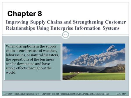 IS Today (Valacich & Schneider) 5/e Copyright © 2012 Pearson Education, Inc. Published as Prentice Hall 8/9/2015 8-1 Chapter 8 Improving Supply Chains.