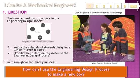 You have learned about the steps in the Engineering Design Process: 1.Watch the video about students designing a windmill (click to start). 2.How did the.