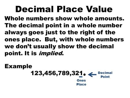 Decimal Place Value Whole numbers show whole amounts. The decimal point in a whole number always goes just to the right of the ones place. But, with whole.