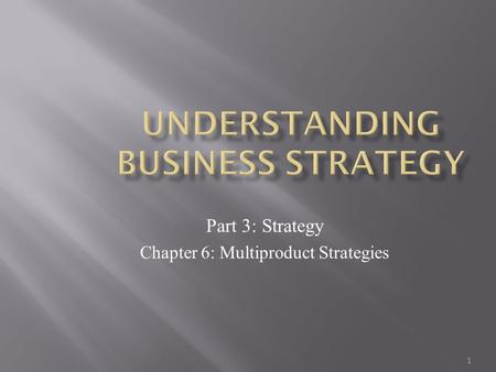 1 Part 3: Strategy Chapter 6: Multiproduct Strategies.