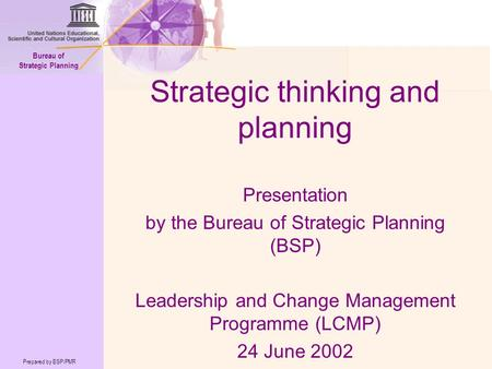 Prepared by BSP/PMR Bureau of Strategic Planning Strategic thinking and planning Presentation by the Bureau of Strategic Planning (BSP) Leadership and.