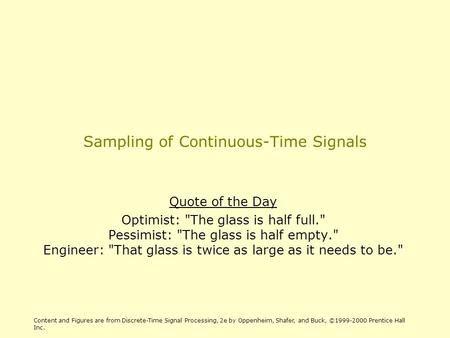 Sampling of Continuous-Time Signals