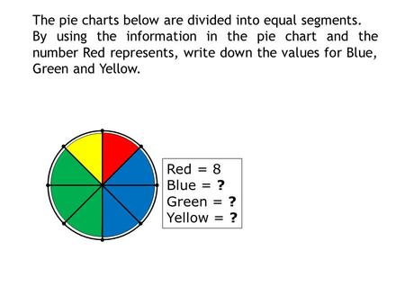 The pie charts below are divided into equal segments. By using the information in the pie chart and the number Red represents, write down the values for.