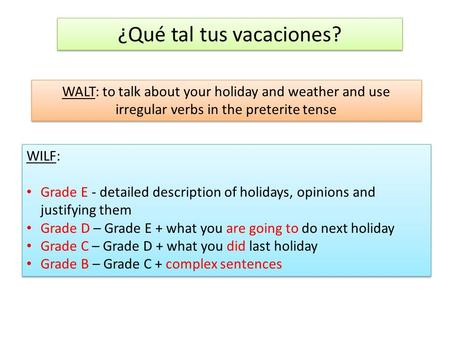 ¿Qué tal tus vacaciones? WALT: to talk about your holiday and weather and use irregular verbs in the preterite tense WILF: Grade E - detailed description.