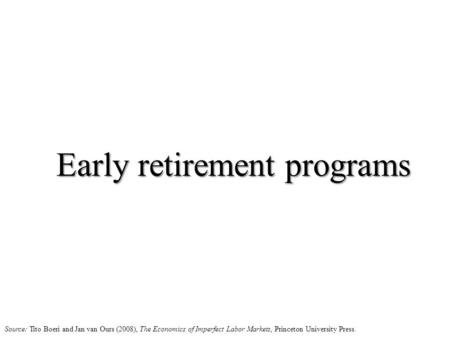 Early retirement programs Source: Tito Boeri and Jan van Ours (2008), The Economics of Imperfect Labor Markets, Princeton University Press.