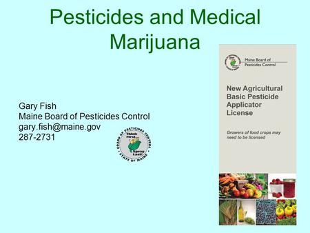 Pesticides and Medical Marijuana Gary Fish Maine Board of Pesticides Control 287-2731.