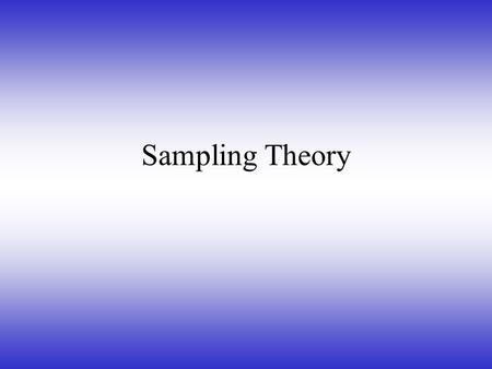 Sampling Theory. Time domain Present a recurring phenomena as amplitude vs. time  Sine Wave.