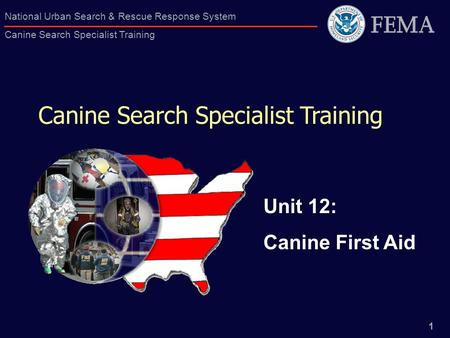 1 National Urban Search & Rescue Response System Canine Search Specialist Training Canine Search Specialist Training Unit 12: Canine First Aid.