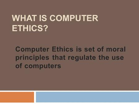 What Is Computer Ethics?