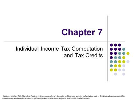Individual Income Tax Computation and Tax Credits