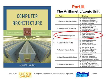 Jan. 2011Computer Architecture, The Arithmetic/Logic UnitSlide 1 Part III The Arithmetic/Logic Unit.