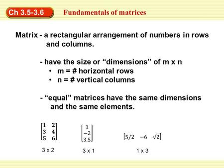 Fundamentals of matrices