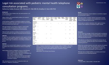 Legal risk associated with pediatric mental health telephone consultation programs. Katherine Hobbs Knutson MD, Marlynn H. Wei MD JD, Bradley D. Stein.