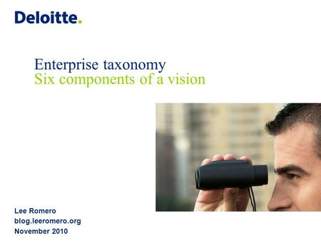 Lee Romero blog.leeromero.org November 2010 Enterprise taxonomy Six components of a vision.