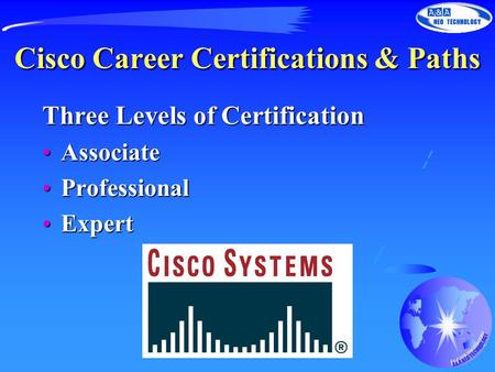 Cisco Career Certifications & Paths Three Levels of Certification AssociateAssociate ProfessionalProfessional ExpertExpert.