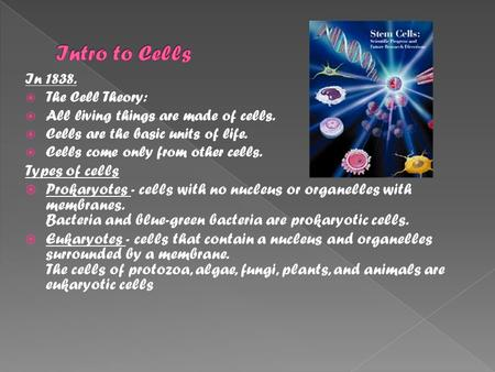In 1838.  The Cell Theory:  All living things are made of cells.  Cells are the basic units of life.  Cells come only from other cells. Types of cells.