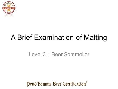 A Brief Examination of Malting Level 3 – Beer Sommelier.