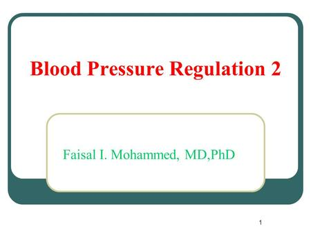 Blood Pressure Regulation 2