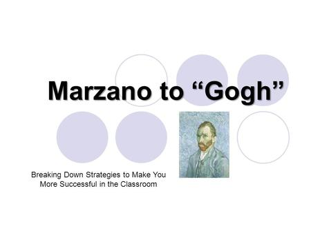 "Marzano to ""Gogh"" Breaking Down Strategies to Make You More Successful in the Classroom."