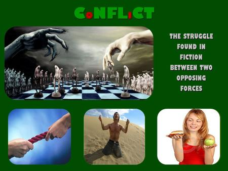 THE STRUGGLE FOUND IN FICTION BETWEEN TWO OPPOSING FORCES C O NFL I CT EXTERNAL CONFLICT MAN IN CONFLICT WITH ANOTHER MAN EXTERNAL CONFLICT MAN IN CONFLICT.