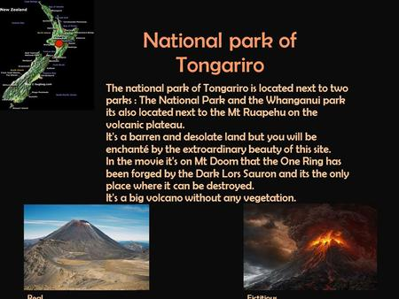 National park of Tongariro The national park of Tongariro is located next to two parks : The National Park and the Whanganui park its also located next.