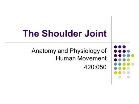The Shoulder Joint Anatomy and Physiology of Human Movement 420:050.