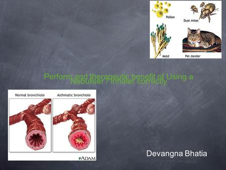 Perform and therapeutic benefit of Using a Nebuliser / Inhaler correctly Devangna Bhatia.