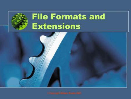 File Formats and Extensions © Copyright William Rowan 2007.