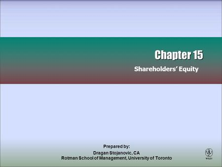 Chapter 15 Shareholders' Equity
